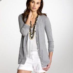 J. Crew Soft Tee Grey Cardigan Light Sweater